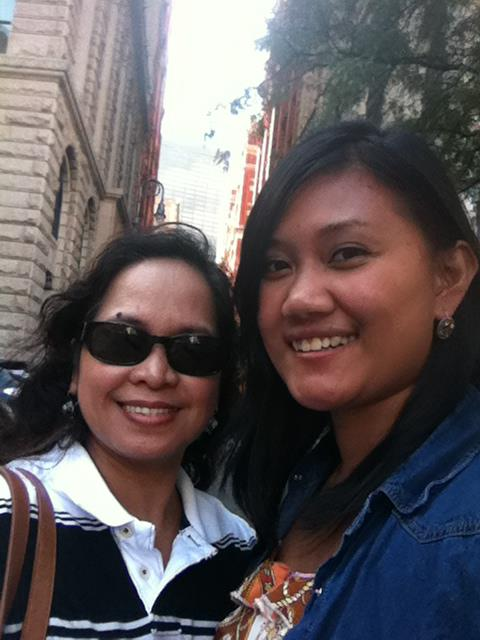 Mommy and I walking the streets of NYC.