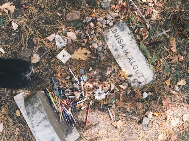 Louisa M. Alcott's Grave. Sleepy Hollow Cemetery. Concord, MA.